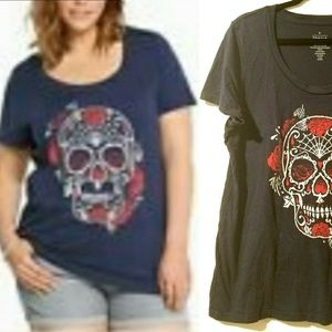 0X Torrid Navy Blue Graphic Tee with Sugar Skull